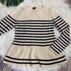 TALBOTS cream & blue striped cable peplum sweater